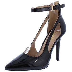 Shoes - New! Black Patent Ankle Strap Stiletto Heel Pump